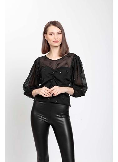 Vitrin Büstiyer Astarlı Transparan Kol Detaylı Bluz Siyah